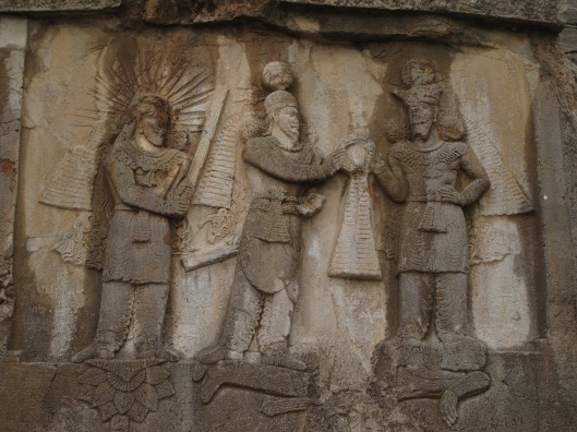 Bas relief at Tagh-e Bostan showing the defeated Julian the Apostate under the feet  of Shapur II